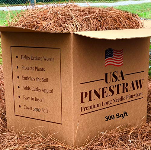 USA Pine Straw - Premium Pine Needle Mulch - Covers 300 Sqft