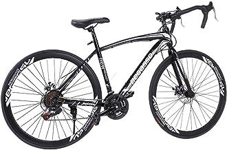 【US Stock】-UROSA Lightweight Aluminum Road Bike - 21 Speed Disc Brakes Road Bicycles Begasso...