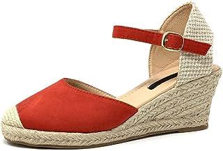 c23c9d46785a0 Angkorly - Chaussure Mode Sandale Espadrille Ouverte Femme brodé Corde  Brillant Talon compensé Plateforme
