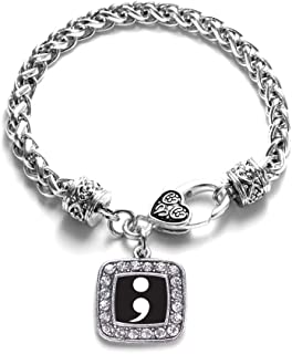 Silver Square Charm Bracelet with Cubic Zirconia Jewelry