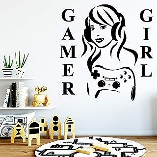TYLPK Diy Art Gamer Girl Pegatina decorativa Impermeable Decoración para el hogar Tatuajes de pared Decoración de la casa Papel pintado Pegatinas Muraux Muursticker Púrpura M 30cm X 30cm