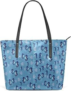 Blue Sea Grass Seahorse Leather Satchels Purses Shoulder Tote Bags Satchel Womens