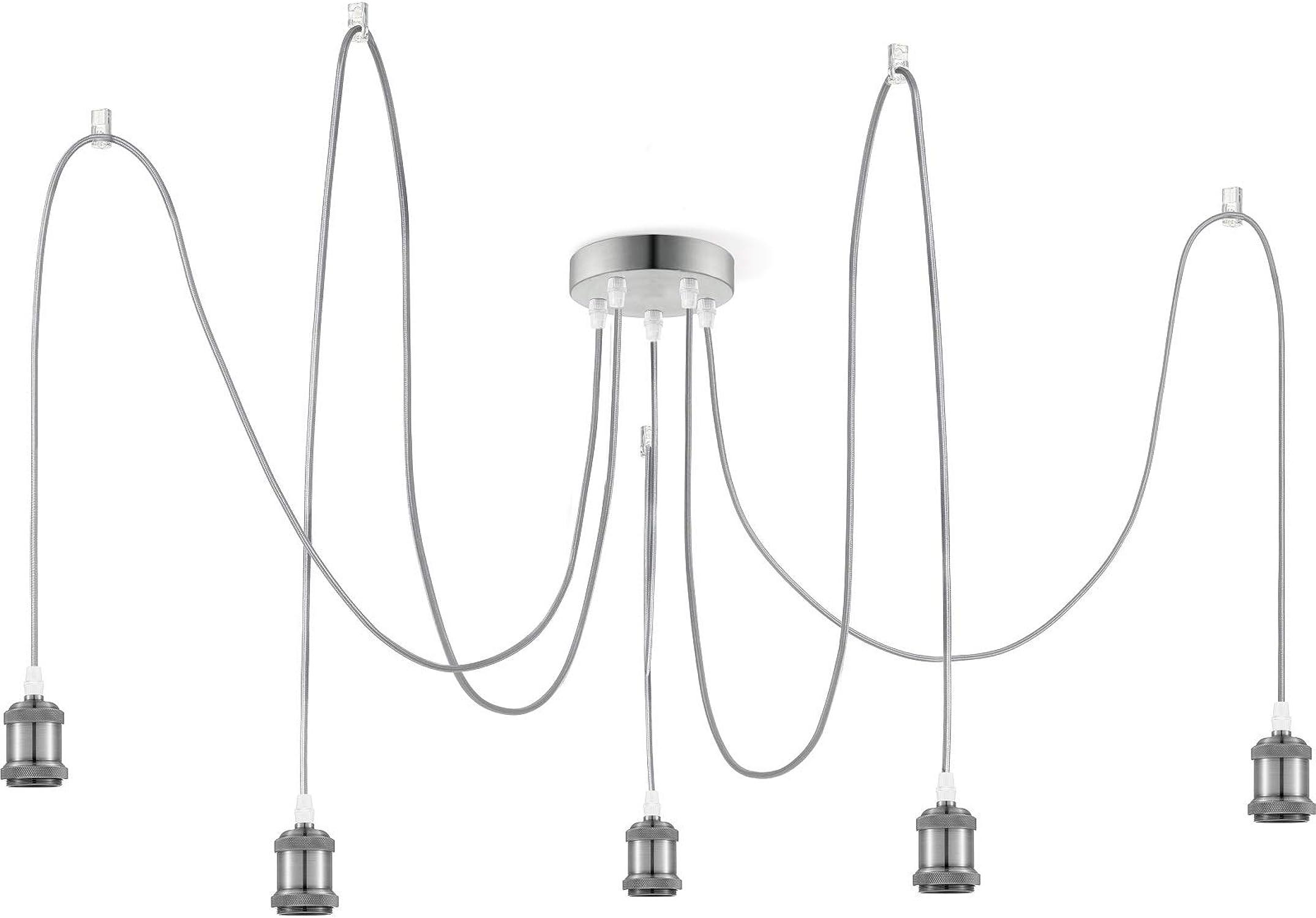 Suspension Vintage Acier Industriel Design Suspensions Lampe de Cuisine Lampe de Cuisine Lampe de Cuisine Lampe de Cuisine 5 Flammig Suspension Rétro Hauteur 100cm