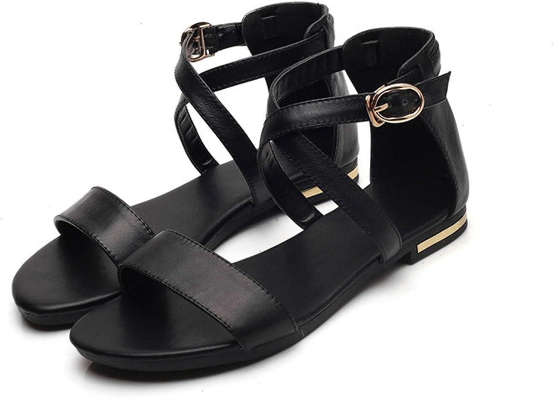 Women Sandals Block Heel Summer shoes Open Toe Ladies Flat shoes Buckle 2018 Female shoes Big Size 33-46
