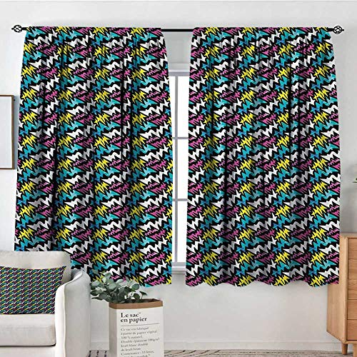 Elliot Dorothy Pattern Curtains Graffiti,Hand Drawn Modern Street Art Illustration with Colorful Curved Stripes Composition,Multicolor,Rod Pocket Curtain Panels for Bedroom & Kitchen 52'x63'