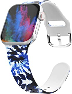 UooMoo Tie-dye Watch Band Compatible for Apple Watch Band 38mm 40mm,Soft Silicone Pattern Printed Bands Womens Replacement...