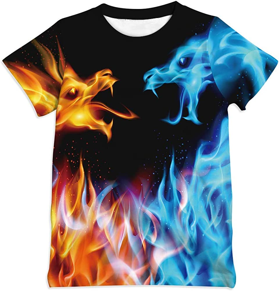 Ainuno Graphic Tees for Boys Girls Kids 7-14Y, Summer Short Sleeve T Shirt Cool 3D Print