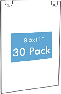 NIUBEE 30 Pack Acrylic Sign Holder 8.5 x 11 inches Clear Wall Mount Frame Bonus with 3M Tape and Mounting Screws, Wall Mount Plastic Sign Holder Perfect for Home, Office, Store, Restaurant- Vertical
