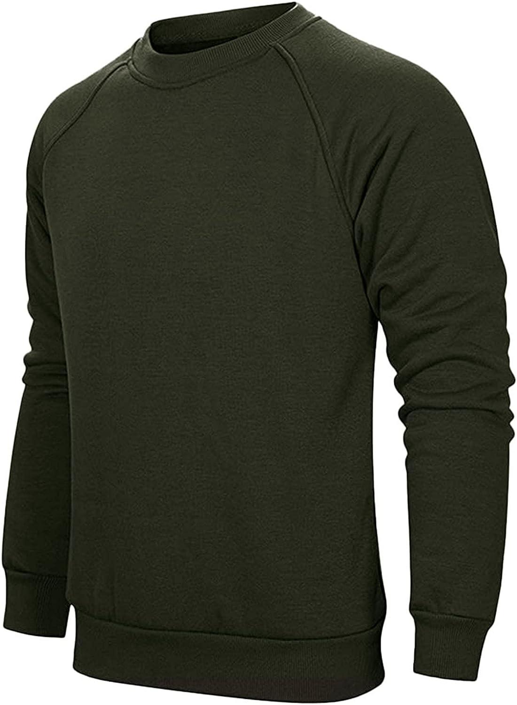 HONGJ Sweatshirts for Mens, 2021 Fall Long Sleeve Casual Loose T-shirts Fashion Slim Fit Basic Crewneck Tops