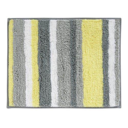 iDesign Stripz Microfiber Polyester Bath Mat, Non-Slip Shower Accent Rug for...
