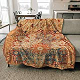 Fleece Blanket 16th Century Persian Carpet Print Throw Blanket Cozy Couch Bed Soft and Warm Plush Blanket Microfiber Lightweight Blanket 51x59inch