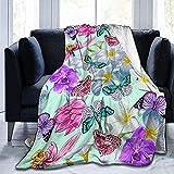 Manta de franela impresa, mariposas, orquídeas tropicales, sala de estar, dormitorio/sofá sofá de viaje, manta de cama súper mullida para niños y adultos en todas las estaciones, 153 x 127 cm