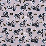 SCHÖNER LEBEN. Baumwollstoff Digitaldruck Batman grau