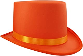 Soft Orange Satin Top Hat Costume Adult, One Size