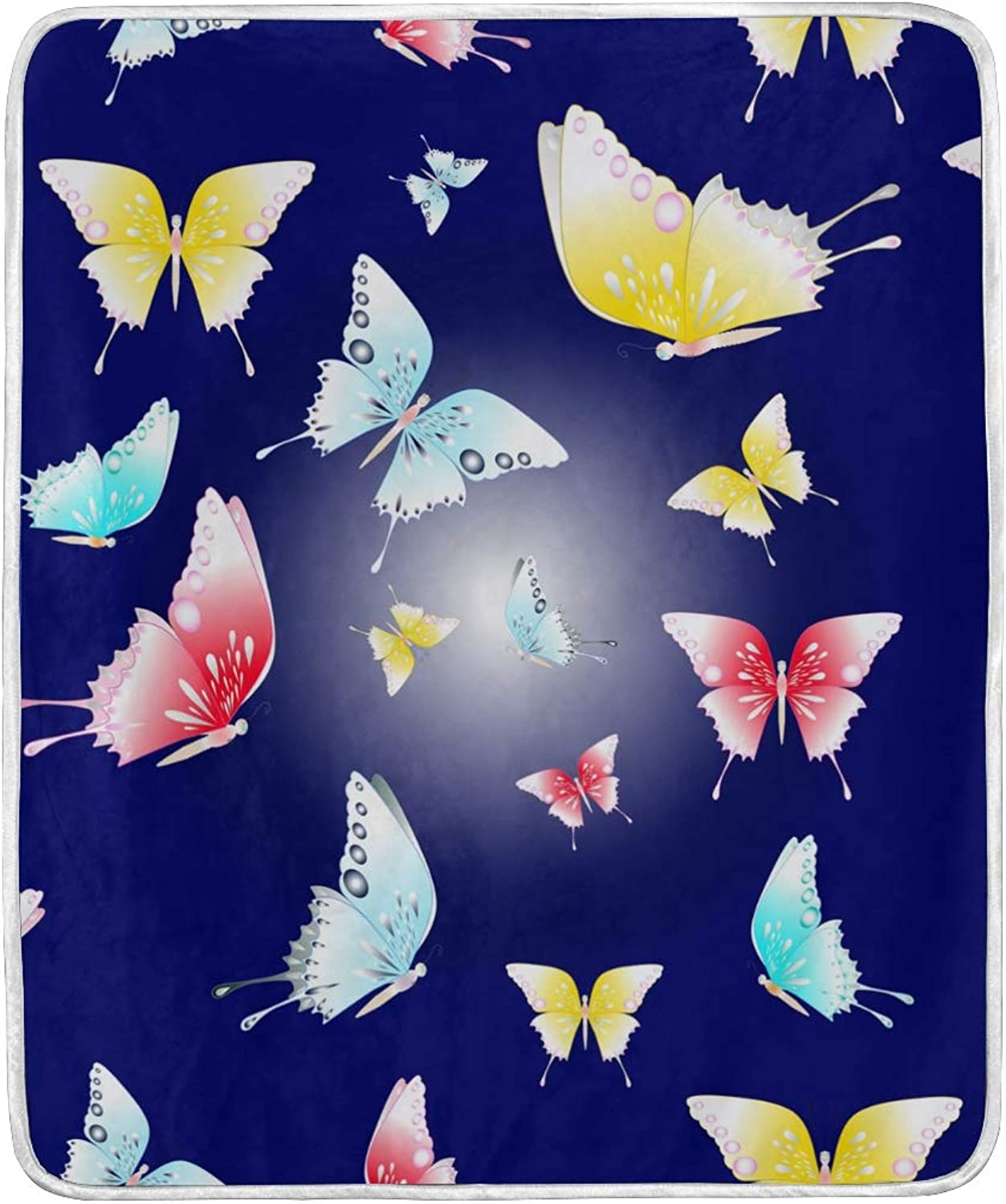 Vintage colorful Butterfly Throw Blanket Soft Nap Couch Bed Blankets for Kid Boy Girl Women Men 50x60 inch