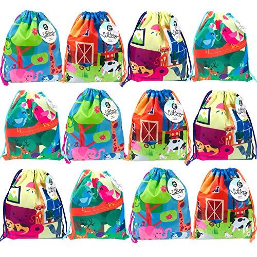 Pak 12 Touwzakken voor kinderen Kleine zak Touwen Tassen Gift Verjaardagsfeest Sport Gym Details Originele verjaardag voor jongensmeisjes 26cm