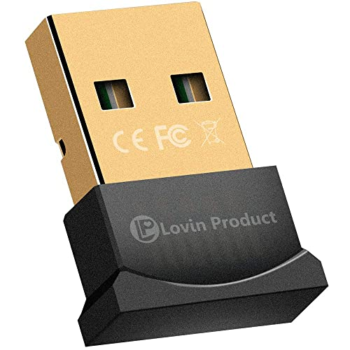 Bluetooth 4.0 USB Adapter, Lovin Product USB Bluetooth Wireless Micro Adapter Compatible with Windows 10,8.1/8,7,Vista, XP, 32/64 Bit for Desktop, Laptop, Computers