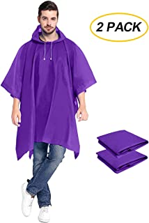 ANTVEE Rain Ponchos 2 Packs for Adults with Drawstring Hood - Emergency Rain Coat for Theme Park, Hiking, Camping or Traveling