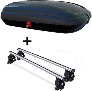 Dachbox VDPCA320 320Ltr carbonlook + Dachträger Menabo Tema kompatibel mit FIAT 500L Living (Schrägheck 5 Türer) ab 2013 Aluminium
