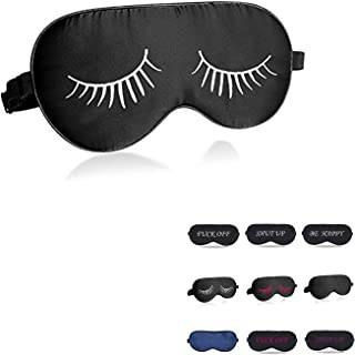 perfect trade Natural silk sleep mask & blindfold,eye mask for sleeping, Black With Eyelashes,100% Silk Sleep Mask for A Full Night's Sleep,Eyelashes sleep mask for women girl (white)