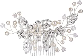 EVER FAITH Women's Crystal Simulated Pearl DIY Filigree Flower Leaves Hair Comb Clear Silver-Tone