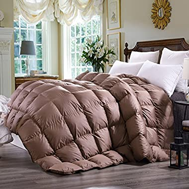 C&W Luxurious Medium Weight Goose Down Comforter King Size Duvet Insert All Seasons Hypo-allergenic 800TC, 65 Oz Fill Weight With Tabs Brown (King, Brown)