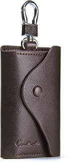 Contacts Mens Genuine Leather Car Key Case Card ID Holder Wallet Dark Brown