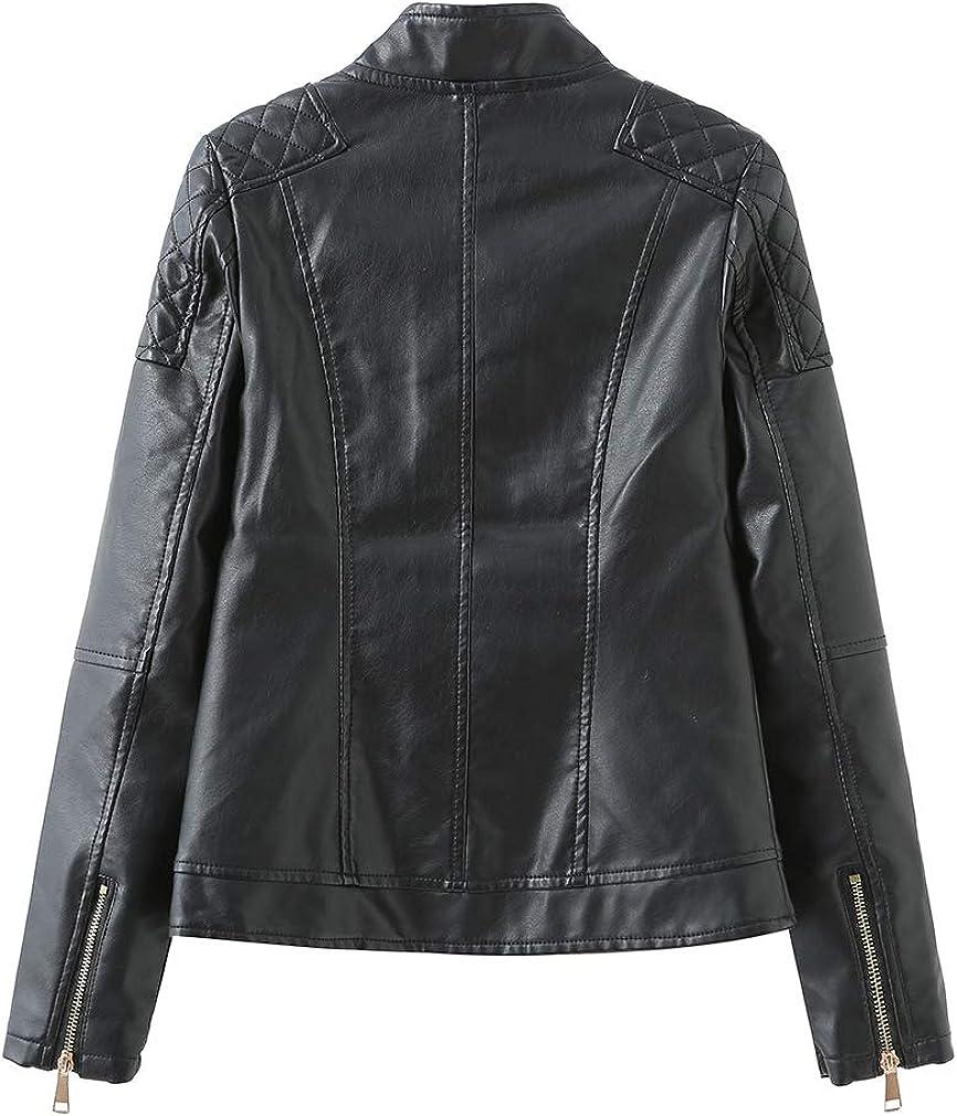 Chowsir Women Casual Stand Collar Front Zipper Faux Leather Moto Jacket Short Coat (Medium, Black)
