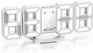 LEDデジタル時計 3Dデザイン アラーム機能付き 置き時計 壁掛け時計 明るさ調整 日本語取扱説明書付き デジタル時計 (ホワイト)