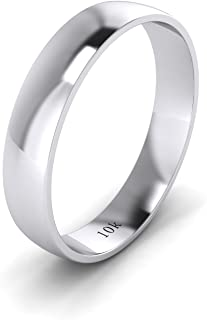 LANDA JEWEL Unisex Solid 10k White Rose Yellow Gold 4mm Comfort Traditional Highly Polished Wedding Ring Plain Band