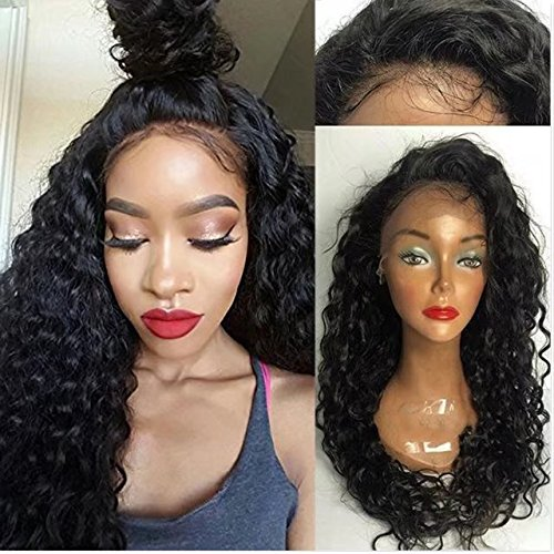 Curly Water Wave Weavy Wig Brazilian Perruque Cheveux Humain Full Lace Wigs Deep Curly wave Sans Colle 150% Density Lace Wigs with Baby Hair (10 inch,