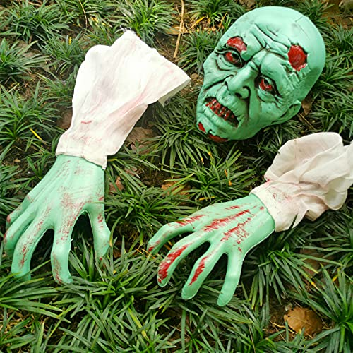 Litviz Halloween Decorations, Scary Zombie Face and Arms Lawn Stakes for Spooky Lawn Yard Graveyard...