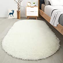 Softlife Soft Velvet Oval Area Rugs Modern Shaggy Carpet Cute Rug for Bedroom Girls Room Dining Room Home Decor 2.6' X 5.3...