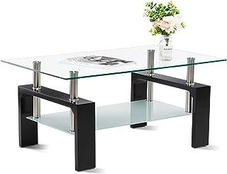 Sponsored Ad - VERD Rectangle Glass Coffee Table Modern Design Furniture Sturdy Metal Frame Legs Sofa Table Side Coffee Ta...