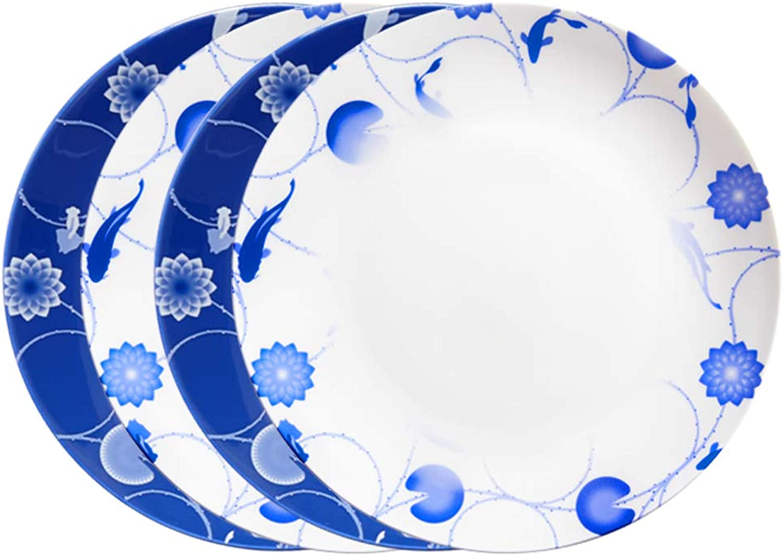 ZENS Lot de 4 Assiettes en Porcelaine Fine à la Cendre d'os, Assiette Plate, Motif Lotus et Poisson en Blanc ou Bleu Dégradé