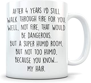 4th Anniversary Gift for Couple - Funny 4 Year Wedding Anniversary for Men and Women - Him and Hers Marriage Coffee Mug Set I Love You for Parents or Friends