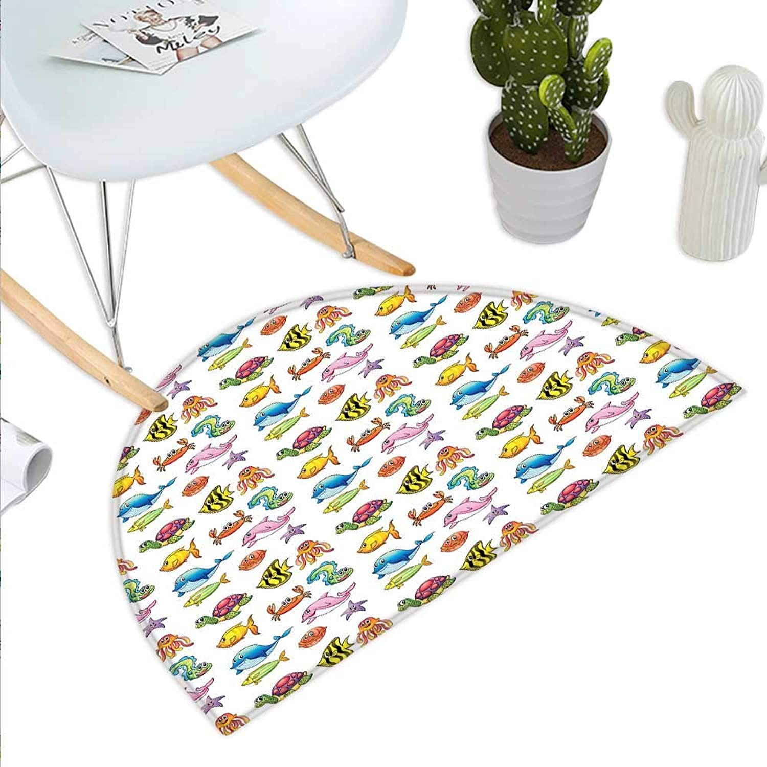 Boys Semicircle Doormat Happy Fauna of The High Seas Smiling Characters Fishes Turtles Crabs Octopus Starfish Halfmoon doormats H 35.4  xD 53.1  Multicolor