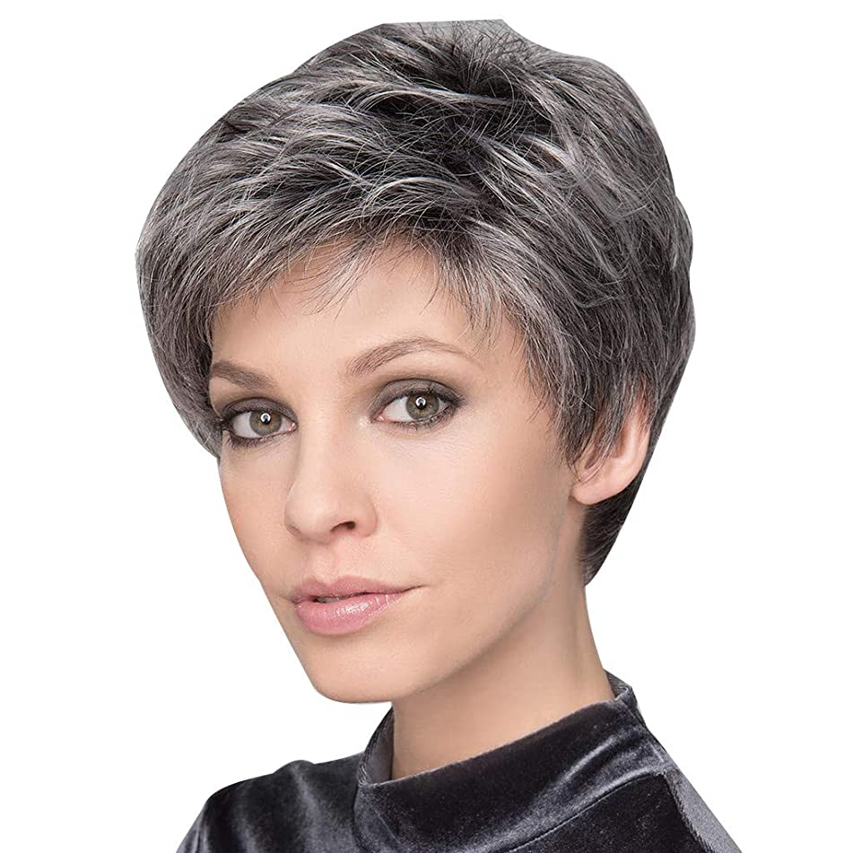 Old WomenWigs, Mix Colors Natural Short Wigs,Wavy Wig Humen Hair Curly Synthetic Wigs Grey