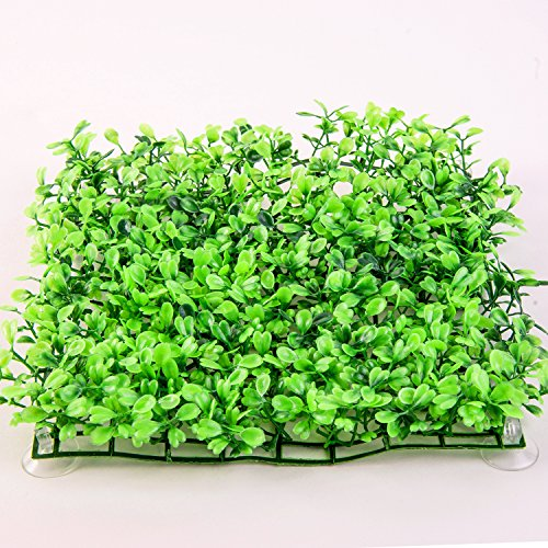 SLSON Aquarium Decorations Grass Artificial Plastic Lawn 9 inches Square Landscape Green Plants for Saltwater Freshwater Tropical Fish Tank Decoration,with 8 Pcs Suction Cups