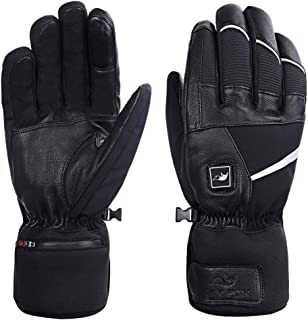 Sky Fox Heated Gloves for Men Women,Rechargeable Winter Leather Gloves,Ski Hiking Walking Motorcycle Outdoor Arthritis Hands Warm Mittens,Heat up to 2.5-6Hours