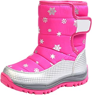 Hzjundasi Boys Girls Snow Boots, Kids Winter Warm Shoes Fashion Waterproof and Slip Resistant Ankle Boots Outdoor Hiking Shoes