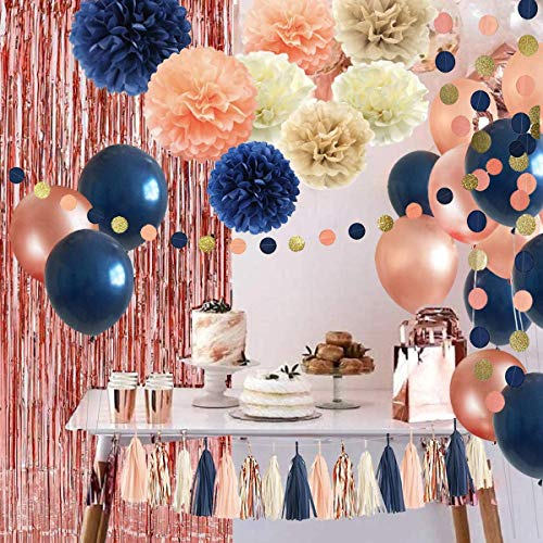 32 Pack Navy Blue Rose Gold Party Decoration Kit - Navy Rose Gold Balloons, Curtains, Paper Flowers,Tassel and Garland for Bridal Shower, Gender Reveal, Rose Gold Bachelorette Party Decorations