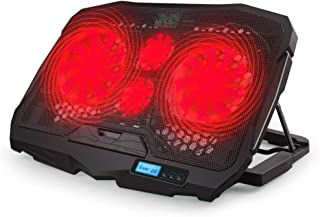 مروحة تبريد لاب توب من أريامون باضاءة LED حمراء، 4 مراوح تبريد هادئة للاب توب، منفذين USB، وسادة تبريد هواء للمكتب مع شاشة...