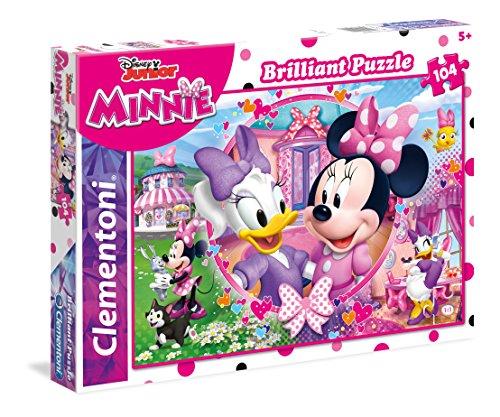 Clementoni- Puzzle 104 Piezas Efecto Diamante Minnie Happy Helper, única (20145.7)