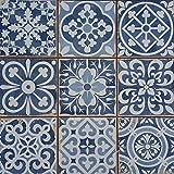 Casa Moro | Mediterranean Patchwork Tiles Rahel Blue 33x33 cm 1 sqm for wall & floor - Vintage Floor Tiles Retro Tiles for beautiful kitchen Bathroom Corridor & kitchen back wall | FL2112