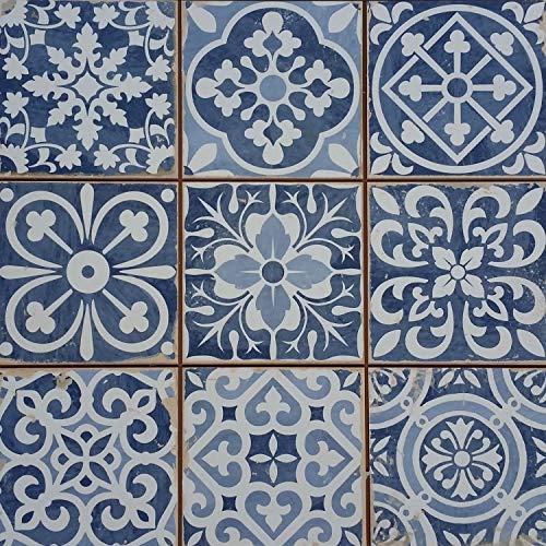 Casa Moro Mediterrane Patchwork Fliesen Rahel Blau 33x33 cm 1 qm für Wand & Boden | Vintage Bodenfliesen Retro Fiesen für schöne Küche Bad Flur & Küchenrückwand | FL2112