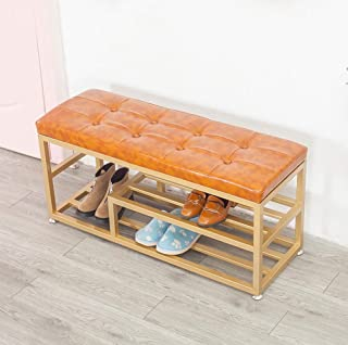 ZXJshyp Metal Shoe Rack Bench, 2-Tier Entryway Shoe Storage Organizer with Comfy Cushioned Seat, Holds Up to 330 Lbs, 39.4...