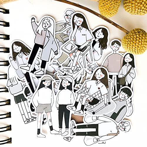 XIAMU Sketch Girl Hand Account Phone Case Laptop Cut Book Decoración Pegatinas 50 Piezas