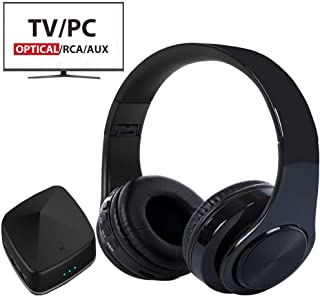 Wireless Headphones for TV Watching with Bluetooth Transmitter & Receiver (Optical Digital Audio, 3.5mm AUX, RCA) No Delay, Foldable with USB Charging Port TV Headphones Wireless