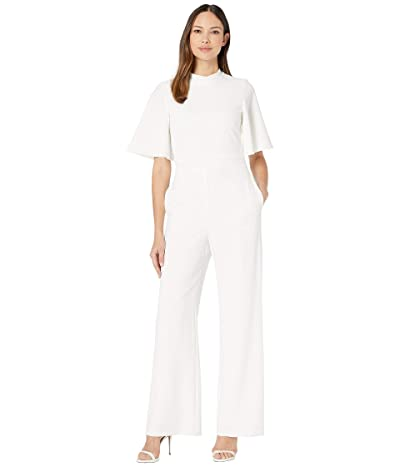 Vince Camuto Flutter Sleeve Mock Neck Tie Back Inset Waistband Jumpsuit (Ivory) Women